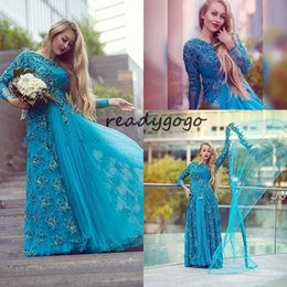$enCountryForm.capitalKeyWord NZ - Turquoise Long Sleeve Bridal Evening Dresses Sparkly Beading Tulle Lace Crew Neck 2018 Plus Size Mother of the Bride Dress Arabic Prom Gowns
