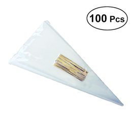 cheap candies 2019 - 100pcs lot DIY Wedding Birthday Party Sweet Cellophane Clear Candy Cone Storage Bags Cheap Organza Pouches Decoration ch
