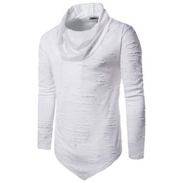 Discount holes shirts - Simple Tshirts Spring Men Holes Design Turtleneck Tops Long Sleeved T-shirt Casual Leisure Clothing Tees