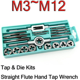 $enCountryForm.capitalKeyWord NZ - Freeshipping 20Pcs lot Tap & Die Kits M3~M12 Straight Flute Hand Tap Wrench Die Holder Car Motorcycle Maintenance Hand Tools Sets With Box