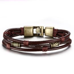 4507eae35987 20 cm Pulsera de cuero marrón de los hombres de moda pulsera estilo retro  de la aleación de cobre trenzado cuerda brazaletes del encanto para el puño  ...