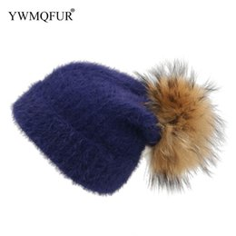 d6171e0fe0d Winter Hats For Women Knitted Girl Hat With Raccoon Fur Ball Casual Female  Skullies Beanies Unisex Caps 2018 New Arrival YWMQFUR