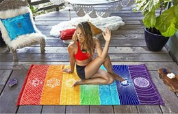 Discount rainbow mat - Bohemia Wall Hanging India Mandala Blanket 7 Chakra Colored Tapestry Rainbow Stripes Travel Boho Beach Towel Yoga Mats G