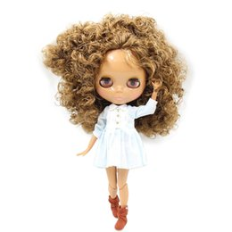 Bored Hair UK - Dolls Accessories Dolls Fortune Days Nude Factory Blyth doll No.BL0623 Brown curly hair JOINT body Chocolate skin Neo 30cm