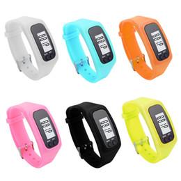 Pedometer Bracelets Canada - 6 Colors Digital LCD Pedometers Fashion Sports Electronic Hand Bracelet Watch Strap Pedometer Sport Run Step Calorie Counter P15