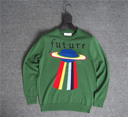 Love stitch cLothing online shopping - 2017 Top quality Italy Luxury Sweaters blind love tee future rainbow UFO printing High street fashion clothing green XL