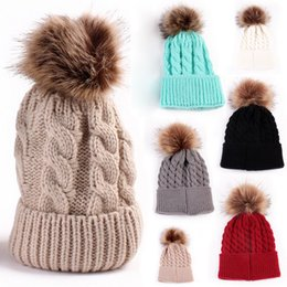7800d6a2d40 Cute Women Autumn Winter Warm Hat Fashion Knitting Wool Cap Soft Crochet  Knitted Wool Fur Beanie Pompom Ball Adjustable Hat Y18110503