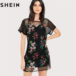 c89cf5c23a wholesale Sexy Floral Embroidery Black Mini Mesh Dress Without Cami 2018  Summer Womens Short Sleeve Sheer Dress Without Cami