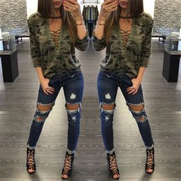 pink camo t shirts NZ - 2018 explosion models 7 color Women Camouflage V Neck Lace Up Halter Top Sexy Ladies Loose long-sleeved Bandage Camo Tee T-shirt