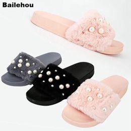 Discount fur platforms - Bailehou Women Fur Slippers Fluffy Pearl Slipper Open Toe Antiskid Flops Plush Platform Sandal Fashion Indoor Outdoor Fl