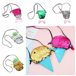 Messenger bag style purse online shopping - 9 Styles Mermaid Sequin Coin Purse Kids Pineapple Ice Cream Paillette Messenger Bag Kids Sequins Glitter Shoulder Bag Pouch CCA10587