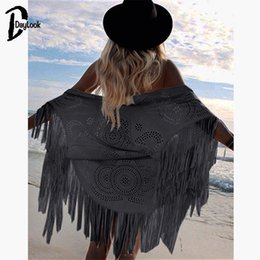 kimonos sale NZ - 2018 Limited Sale Half Daylook Design Faux Suede Shawl Floral Cut Asymmetric Tassel Kimono Capes Summer Style