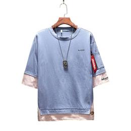 $enCountryForm.capitalKeyWord Canada - Krean Style Mens Hip-Hop Tops Tee Music Rapper T-shirts Hiphop Rap Male Tshirt fake two pieces shirt men