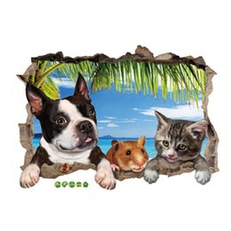 window stickers Australia - 3D Animal Landscape Wall Sticker For Kids Rooms Bedroom Children Wall Decals DIY Cats Dogs False Window Home Decor