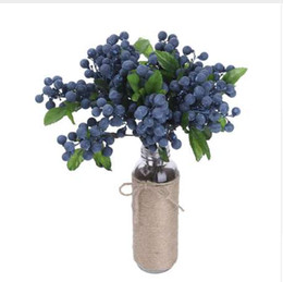 Wholesale Decorative Fake Blueberry Fruit Berry Artificial Flower Silk Flowers Fruits For Wedding Home Decoration Artificial Plants