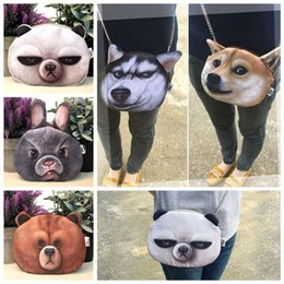 Dog rabbits online shopping - 3D Cute Printing chain bag Dogs panda rabbit single shoulder bag Women Shoulder Messenger Bag Chain Bags EEA303