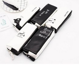 $enCountryForm.capitalKeyWord NZ - Hot Cute Pink pencil case Black white Dot Pu Leather Pen Bag Stationery Pouch Office School Supplies Zakka escolar