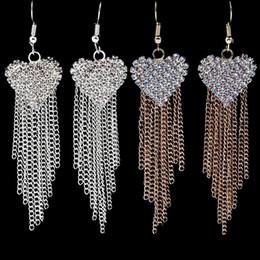 $enCountryForm.capitalKeyWord Australia - Women Diamond Heart Earrings Tassel Exaggerated Alternative Fashion Drop Earrings Gold silver Plated Jewerly For Women Girl Best Gift