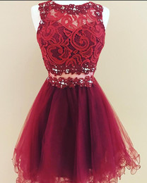 make up models UK - Fashion Dark Red Lace Cheap Homecoming Cocktail Dresses Sheer Neck A line Tulle Hollow Back Beads Sequin Ruched Short Evening prom dress