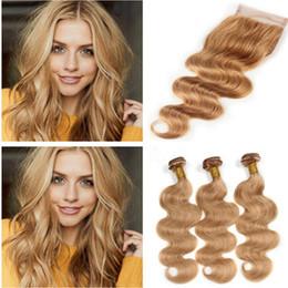 Light Brown Closure Australia - #27 Honey Blonde Peruvian Body Wave Human Hair Weave Bundles With 4x4 Lace Closure Light Brown Virgin Peruvian Human Hair Weaves