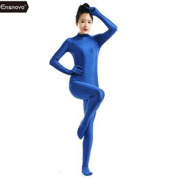 $enCountryForm.capitalKeyWord Australia - suit Ensnovo Blue Spandex Full Body Skin Tight Jumpsuit Zentai Suit Bodysuit Costume For Women Unitard Lycra Dancewear