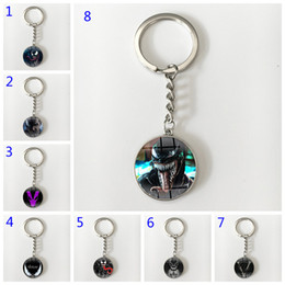 Discount black spiderman toys - 16 Style Venom Key ring toy props hot and classic gift set black spiderman keychain Cool metal time gem pendant Game Acc