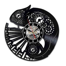 Vintage Wall Accessories UK - diy gift for Steampunk Chameleon Vinyl Wall Clock Ornament Gifts for Bedroom Accessories Room Decor Vintage Animal Art