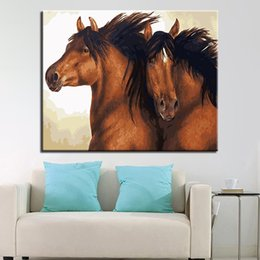 two horse oil painting Australia - Framed Oil Painting By Numbers DIY Drawing Kits Coloring Two Brown Horses On Canvas Home Decor Wall Art Abstract Animal Pictures