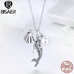 $enCountryForm.capitalKeyWord NZ - BISAER Genuine 925 Sterling Silver Triple Pendant Boho Mermaid Pearl and Shell Chain Link Necklace for Women Jewelry Gift HSN237