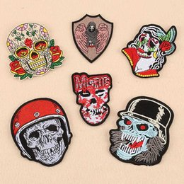 Bikers Back Patches Australia - Embroidery Patch Punisher Skull Punk Skull Flowered Patch Iron Biker Iron On Patches Wings Back Patch DIY Stalker Badge Embroidery Patches F