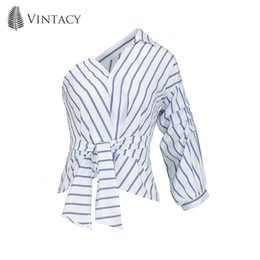 plain shirt blouse 2019 - Vintacy Spring Blouse 2018 Plain Blue Oblique Collar Asymmetric Lace-Up Women Slim One Sleeve Casual Clothing Tops Women