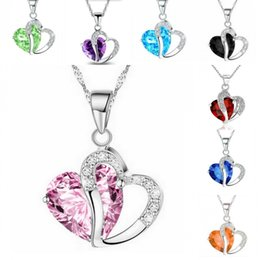 $enCountryForm.capitalKeyWord NZ - 10 Colors Zircon Crystal Necklace Korean Version Of The Heart Shaped Crafts Pendant Jewelry Accessory Gift For Women D294L R