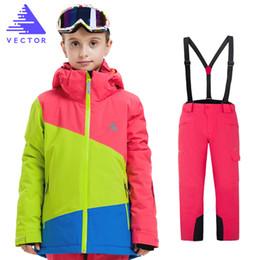 Waterproof Suit Kids Australia - Gilr Boy Skiing Jacket+Pant Boys Ski Sets Winter Waterproof Windproof Kids Ski Jacket Outdoor Warm Hooded Snowboard Sports Suits