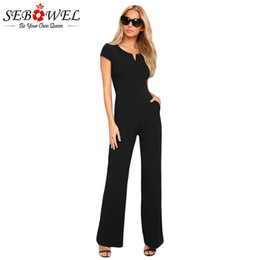 working women jumpsuit UK - SEBOWEL 2018 Summer Black Daily Fashion Wide Leg Jumpsuit Women Elegant Sexy Casual Office Work Jumpsuit Long Pants Overalls