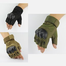 Discount army gloves - Sport Outdoor Tactical Gloves Army Paintball Airsoft Outdoor Combat Anti-Skid Fingerless Fighting Carbon Knuckle Half Fi
