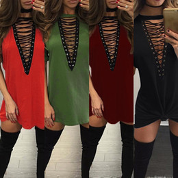 $enCountryForm.capitalKeyWord Canada - Deep V Neck Short Sleeve Dress Nightclub Fashion T -Shirt Chest Strap Skirt Hollow Out Sexy Pullover Package Hip Pure Color Skirt