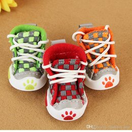 $enCountryForm.capitalKeyWord NZ - Spring Summer Pet Footwear High Quality Canvas Boots Shoes For Small Medium Pet Dog Cats, Slip-resistant Waterproof Grid Dog Shoes