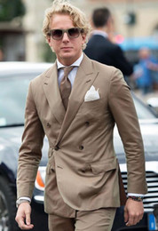 light brown linen suit 2019 - Custom Made Best Men Suits Light Brown Double Breasted Slim Fit Wedding Suits Blazer 2 Pieces Tailored Tuxedo Terno Masc
