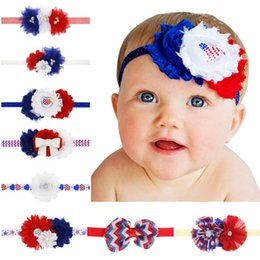 Wholesale Pretty Baby Girls Diamond Flowers Headbands Red Blue Striped Lace Hair Bows Party Infant American Independence Day Hair Accessories