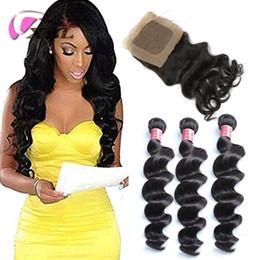 Silk Human Hair Extension Australia - xblhair brazilian virgin hair with closure virgin loose wave human hair extensions and 4by4 silk base closure