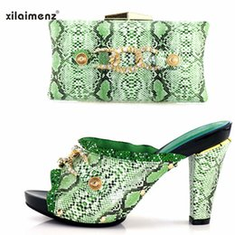 Shoes Green Color Australia - 50% Discount 2018 new design square heel Italian shoes matching bag decorate with rhinestone in green color 10 cm slipper