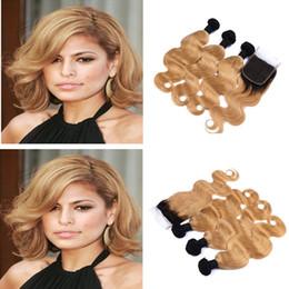 Discount honey blonde ombre virgin hair - Dark Roots Ombre 1B 27 Hair Weft With 4x4 Closure Honey Blonde 1B 27 Ombre Lace Closure With Body Wave Virgin Hair Exten