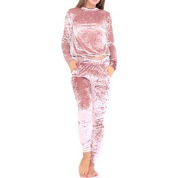 Yoga Pants Velvet UK - 3xl 6 Color Velvet Tracksuit Women Costume Velvet Set Long Sleeve Top +Pant Velour Tracksuit Sets For Women Sporting Suit