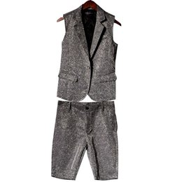 $enCountryForm.capitalKeyWord UK - Male Silver Shiny Material Suit Vest Stage Show Men Slim Fit Sleeveless Jacket Dancer Singer Clothing