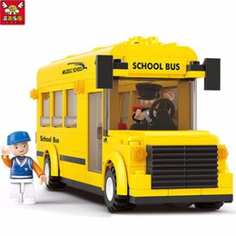 block puzzle toy 2019 - gift box with bow Children Educational Toy!! 218pcs set School Bus Building Blocks Enlightenment Puzzle Toys Best Birthd