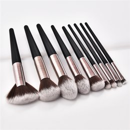 $enCountryForm.capitalKeyWord Australia - 9PCS Makeup Brushes Set special design tube Blush Foundation Concealer Eyeshadow Applicator Fan Flame Micro Brushes tools DHL T09017