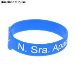 Glow bracelet watch online shopping - Ink Filled Logo Watch Shaped Bracelet N Sra aparecida rogai por nos Silicone Wristband Adult Size