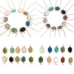 Druzy necklaces online shopping - 10 STYLES Druzy Drusy Necklace Earrings Kendra Resin Stone Scott Hexagon Pendant Necklace Stud Charms Jewelry for Women