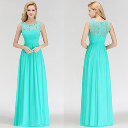 Chinese  Aqua Summer Chiffon Bridesmaids Dresses Cheap Under $70 DHL Shipping Sheer Lace Appliques Top Pleats Floor Length Maid of Honor Gowns BM0052 manufacturers