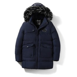 Discount long warm parka mens - Mens Clothing Winter Parka Down Cotton Coats Warm Jacket Hooded Snow Tops Outerwear Overcoat Thickening Cashmere Liner 2
